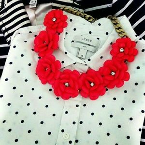 White with black polkadots pop over J.Crew Blouse
